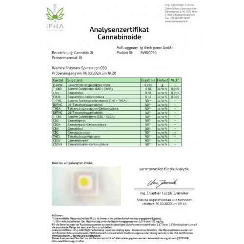 Cannabis Öl Bio Analysezertifikat